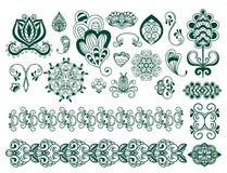 För paisley för modell för design för klotter för blomma för mehndi för hennatatueringbrunt dekorativ dekorativ indisk mhendi ara royaltyfri illustrationer