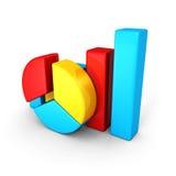 För paj- och stångdiagram för affär färgrika grafer för diagram Royaltyfria Bilder