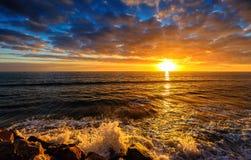 för panoramahav för liggande 3d solnedgång Arkivbilder