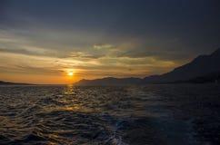 för panoramahav för liggande 3d solnedgång Arkivfoto
