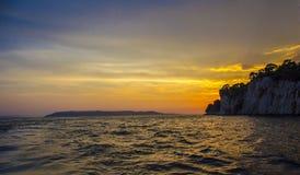 för panoramahav för liggande 3d solnedgång Arkivfoton