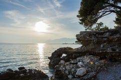 för panoramahav för liggande 3d solnedgång Royaltyfri Bild