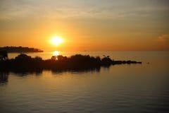 för panoramahav för liggande 3d solnedgång Royaltyfri Fotografi