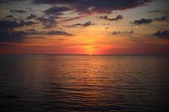 för panoramahav för liggande 3d solnedgång Royaltyfri Foto