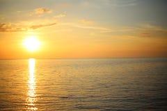 för panoramahav för liggande 3d solnedgång Arkivbild