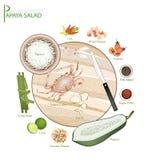 För Papayasallad för 12 ingredienser thailändskt grönt recept stock illustrationer