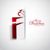 För Papercut för glad jul ask gåva, enkelt kort för jul, ve Royaltyfri Bild