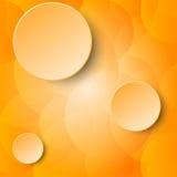 För papperscirkel för apelsin tre 3d etikett på orange genomskinligt begrepp för bakgrund för bubblaabstrakt begreppdesign Royaltyfria Foton
