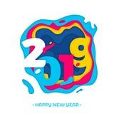 2019 för papperssnitt för lyckligt nytt år kort för vektor stock illustrationer