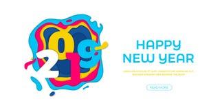 2019 för papperssnitt för lyckligt nytt år kort för vektor vektor illustrationer