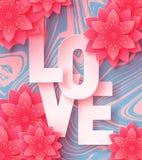 för papperssnittet för abstrakt begrepp 3d illustrationen av förälskelsebokstäver och pappers- konstrosa färger blommar på marmor royaltyfria bilder