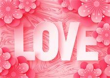 för papperssnittet för abstrakt begrepp 3d illustrationen av förälskelsebokstäver och pappers- konstrosa färger blommar på marmor arkivfoton