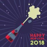 För partidrink för lyckligt nytt år 2018 färgstänk för flaska vektor illustrationer