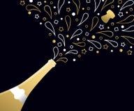 För partidrink för lyckligt nytt år 2018 guld- färgstänk för flaska stock illustrationer