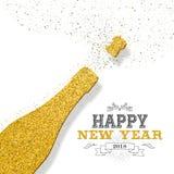 För partiflaskan för lyckligt nytt år 2018 guld blänker kortet Fotografering för Bildbyråer