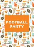 För partiinbjudan för amerikansk fotboll kort Hjälmen trofén, öl, skumfingret, snabbmat, går och trycker på ner att märka bakgrun stock illustrationer