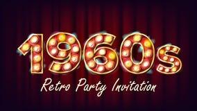 för partiinbjudan för 60-tal Retro vektor Stil 1960 Lampkula glödande upplyst Retro tecken för elkraft 3D Affisch reklamblad royaltyfri illustrationer