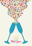För partirostat bröd för lyckligt nytt år 2018 colrful färgstänk Arkivbilder