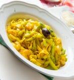 för pastaräka för fetuccini italienska räkor Royaltyfri Fotografi
