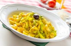 för pastaräka för fetuccini italienska räkor Arkivfoto