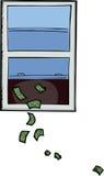 för pengar fönster ut Fotografering för Bildbyråer