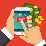 för pengarbetalning för begrepp mobil telefon hand holdingtelefonen Smartphone trådlös pengaröverföring Plan design också vektor  vektor illustrationer