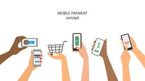 för pengarbetalning för begrepp mobil telefon royaltyfri illustrationer