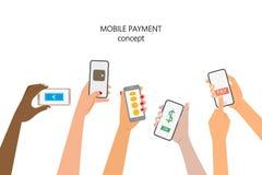 för pengarbetalning för begrepp mobil telefon stock illustrationer