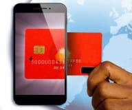 för pengarbetalning för begrepp mobil telefon royaltyfri bild