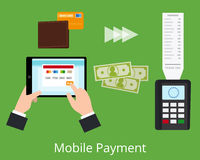 för pengarbetalning för begrepp mobil telefon Royaltyfri Foto