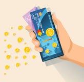 för pengarbetalning för begrepp mobil telefon Arkivbild
