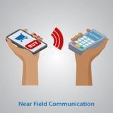 för pengarbetalning för begrepp mobil telefon Nfc teknologi EPS10 royaltyfri illustrationer