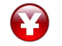 för pengarsymbol för knapp glass yen Arkivbild