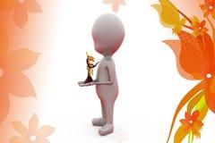 för pengarträd för man 3d hållande illustration Royaltyfri Bild