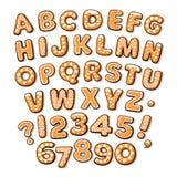 För pepparkakakakor för jul och för nytt år alfabet Socker täckte isolerade bokstäver och nummer Dragen tecknad filmhand vektor illustrationer
