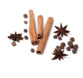 för peppercornsstjärnor för anise svarta kanelbruna sticks Fotografering för Bildbyråer