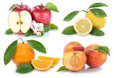För persikaäpplen för äpplet bär frukt den orange samlingen för ny frukt för apelsiner Royaltyfri Foto