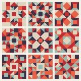 För person som tillhör en etnisk minoritetfyrkant för vektor sömlös blå röd orange geometrisk samling för modell för täcke Arkivbild