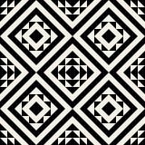 För person som tillhör en etnisk minoritetfyrkant för vektor sömlös svartvit geometrisk modell Royaltyfri Foto