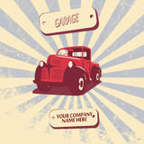 För pickupbil för tappning retro illustration för vektor royaltyfri illustrationer