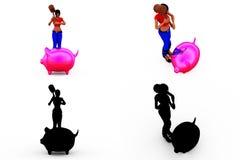 för piggybankbegrepp för kvinna 3d samlingar med Alpha And Shadow Channel Arkivfoto