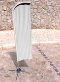 För pilbågeflagga för tom vit konkav åtlöje för baner för flagga för strand för sköld för utomhus- advertizing eller för lodlinje royaltyfri illustrationer