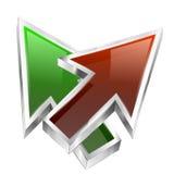 för pilbegrepp för färg 3d symbol Arkivbilder