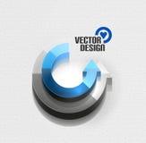 För pilcirkel för vektor 3d glansigt begrepp för high tech stock illustrationer