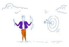 För pilmålet för affärsmannen skissar den hållande ledaren för laget för mannen för begreppet för framgång för strategi för affär stock illustrationer