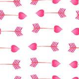 För pilmodell för vattenfärg rosa beståndsdelar för dag för valentin för pilar stock illustrationer