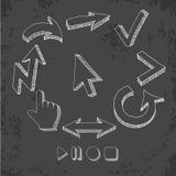 För pilsymboler för vektor hand dragen uppsättning Arkivbilder