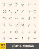 För pilsymboler för vektor tunn uppsättning för design Pilar Arkivbild