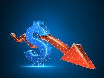 För pilUSD för Downtrend låg poly affär för röd dollar för diagram 3d cryptocurrency för vektor polygonal, krasch, kassa, finansb vektor illustrationer