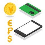 För plånbokbegrepp för vektor mobil symbol Fotografering för Bildbyråer